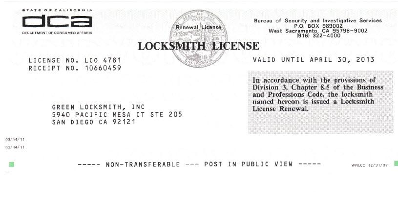 Licensed Locksmiths | San Diego Locksmith | Green Locksmiths